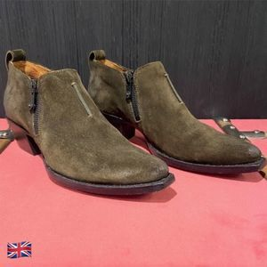 Frye Sacha Moto Suede Shooties in Fatigue